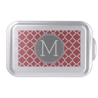 Red and Gray Geometric Pattern Monogram Cake Pan