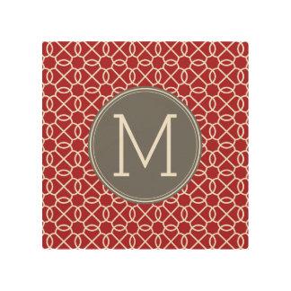 Red and Gray Geometric Pattern Monogram Wood Wall Art