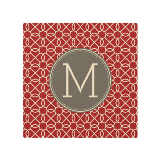 Red and Gray Geometric Pattern Monogram Wood Wall Decor