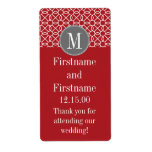 Red and Gray Geometric Pattern with Monogram Shipping Labels