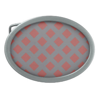 Red and Gray Gingham Belt Buckle