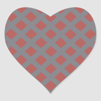 Red and Gray Gingham Heart Sticker