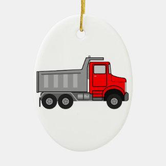 Red and Gray/Grey Cartoon Dump Truck Ceramic Ornament