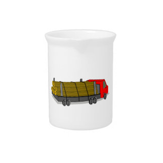 Red and Gray/Grey Logging Truck Transporting Logs Drink Pitchers