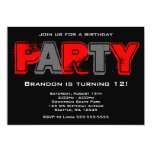 Red and Gray Grunge Birthday Party Personalized Invites