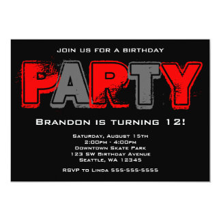 Red and Gray Grunge Birthday Party 5x7 Paper Invitation Card