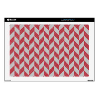 "RED AND GRAY HERRINGBONE PATTERN DECALS FOR 17"" LAPTOPS"