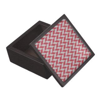 RED AND GRAY HERRINGBONE PATTERN JEWELRY BOX