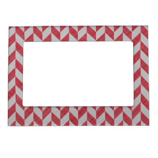 RED AND GRAY HERRINGBONE PATTERN MAGNETIC PICTURE FRAME