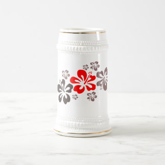 Red and Gray Hibiscus Beer Stein
