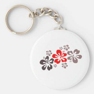 Red and Gray Hibiscus Keychain
