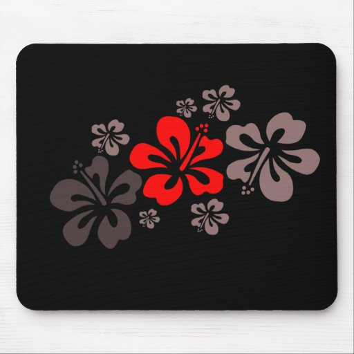 Red and Gray Hibiscus Mouse Pad