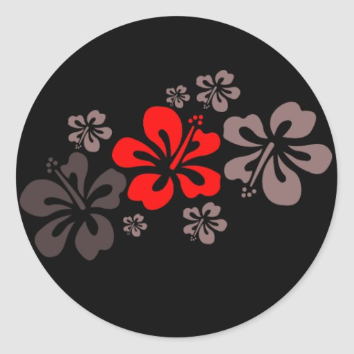 Red and Gray Hibiscus Round Stickers