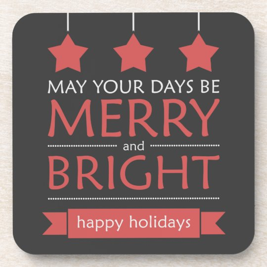 Red and Gray Merry and Bright Holiday Coaster