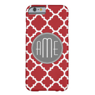 Red and Gray Quatrefoil Pattern Monogram Barely There iPhone 6 Case