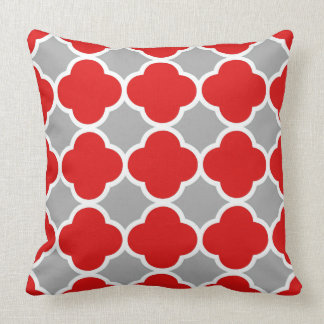 Red and Gray Quatrefoil Pattern Throw Pillow