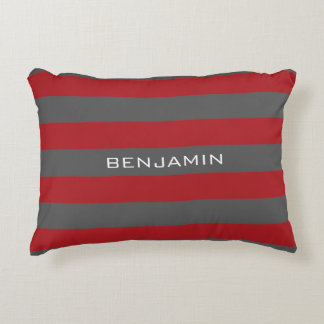 Red and Gray Rugby Stripes with Custom Name Accent Pillow
