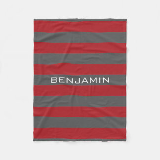 Red and Gray Rugby Stripes with Custom Name Fleece Blanket