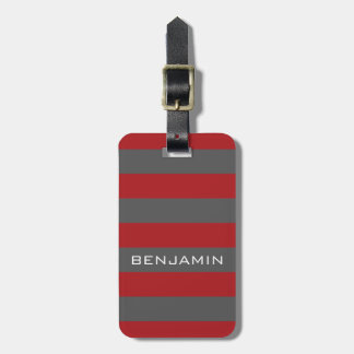 Red and Gray Rugby Stripes with Custom Name Luggage Tag