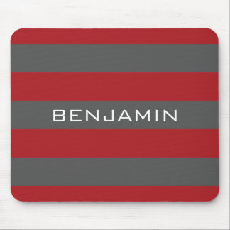 Red and Gray Rugby Stripes with Custom Name Mouse Pad