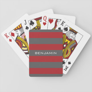 Red and Gray Rugby Stripes with Custom Name Playing Cards