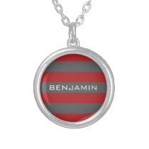 Red and Gray Rugby Stripes with Custom Name Silver Plated Necklace