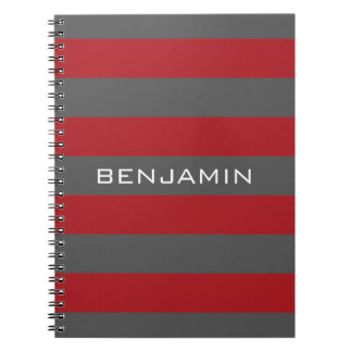 Red and Gray Rugby Stripes with Custom Name Spiral Notebook