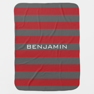 Red and Gray Rugby Stripes with Custom Name Receiving Blanket