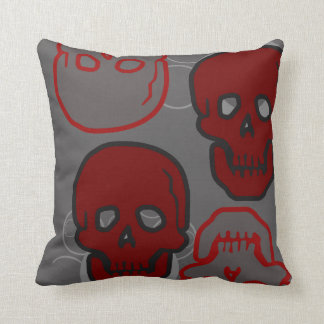 Red and Gray Skulls Pillow