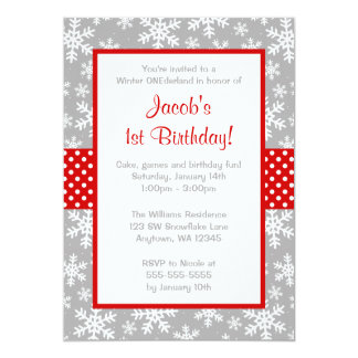Red and Gray Snowflakes Winter Onederland Card