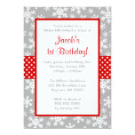 Red and Gray Snowflakes Winter Onederland Custom Invitation