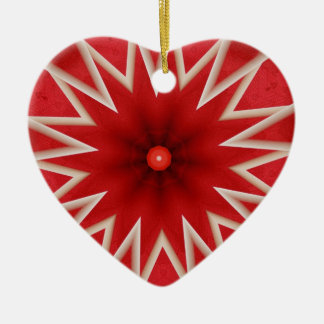red and gray star abstract heart ornament