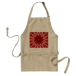 red and gray star abstract khaki apron