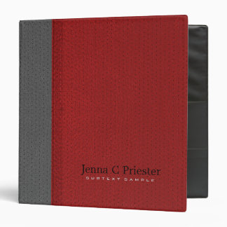 Red And Gray Stitched Leather Look 3 Ring Binder