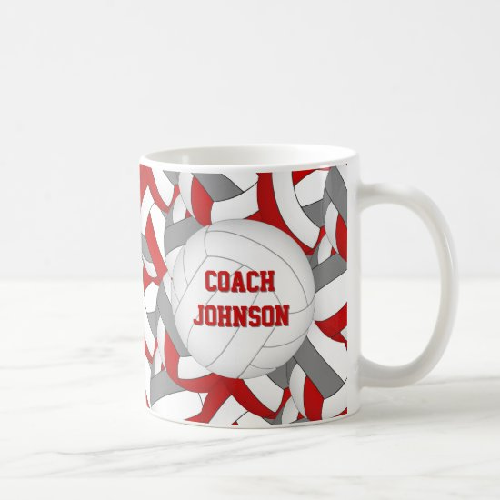 red and gray volleyball team colors coach gift coffee mug