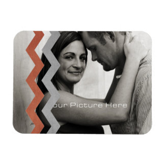 Red and Gray Zig Zag Pattern Rectangular Photo Magnet
