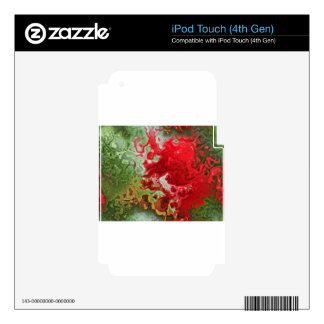 Red And Green abstract Decal For iPod Touch 4G