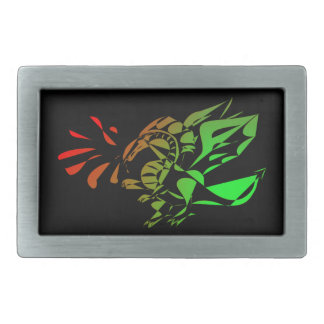 Red And Green Abstract Dragon Rectangular Belt Buckle