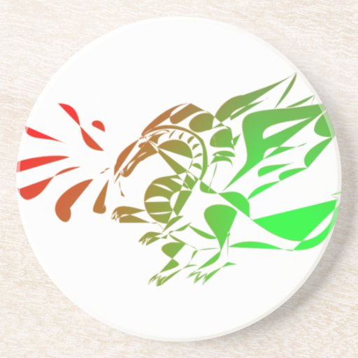 Red And Green Abstract Dragon Beverage Coasters