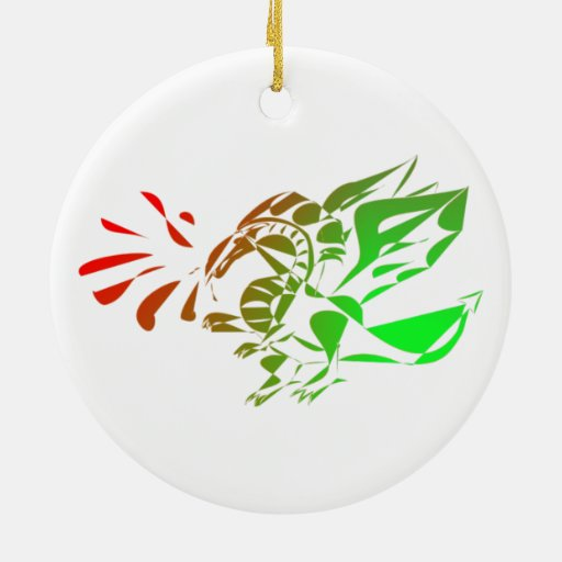 Red And Green Abstract Dragon Double-Sided Ceramic Round Christmas Ornament