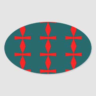 Red and Green Abstract Oval Sticker