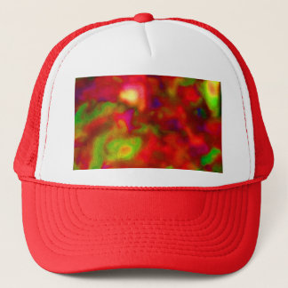Red and green abstract picture trucker hat