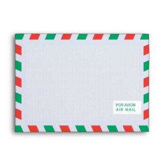 Red and Green Airmail 5x7 Envelope
