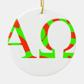 Red and Green Alpha and Omega Design Ceramic Ornament