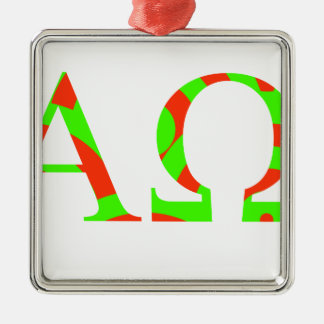 Red and Green Alpha and Omega Design Metal Ornament