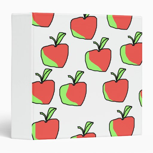 Red and Green Apple Pattern. 3 Ring Binders