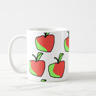 Red and Green Apple Pattern. Coffee Mugs