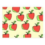 Red and Green Apple Pattern. Postcard