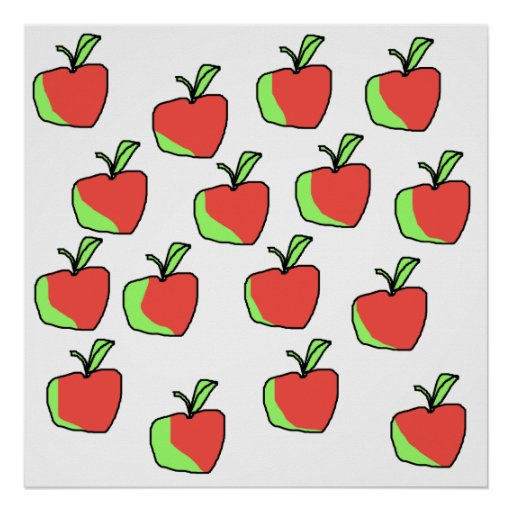 Red and Green Apple Pattern. Poster