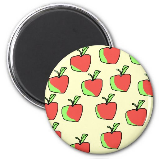 Red and Green Apple Pattern. Refrigerator Magnets